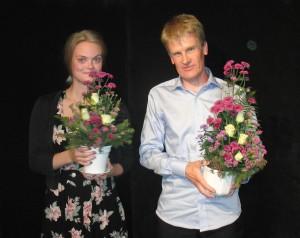 Svenska landslaget 2011 i Berättarslam. Joanna Häggblom och SM vinnaren Pelle Olsson.