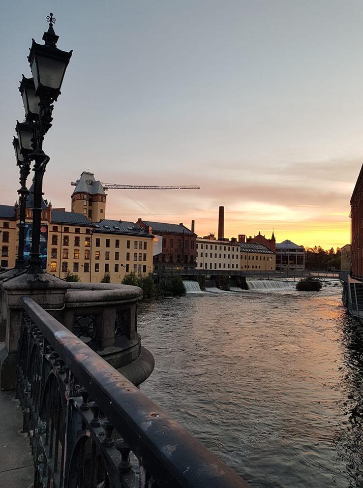 Norrköping från bron över Strömmen